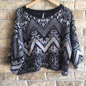 Free People Superstar crop sweater tribal print
